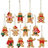 Sea Team Assorted Clay Figurine Ornaments Traditional Gingerbread Man Doll Gingerman Hanging Charms Christmas Tree Ornament Holiday Decorations, 2.76 inches, Set of 12
