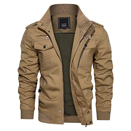 CRYSULLY Men's Bomber Flight Jacket with Patches Cargo Cotton Utility Full Zip Military Jacket Khaki
