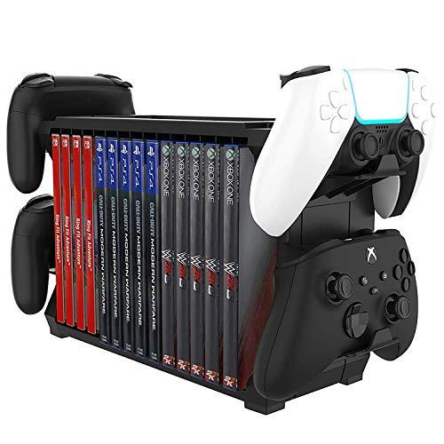 Cozywind Almacenamiento de juegos con soporte de controlador, organizador multifuncional para PlayStation...