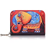Credit Card Holder, RBEIK Accordion Style ID Business Name Card Wallet Case, Card Slots Zipper Travel Wallet Purse Pocket for Women Men Ladies Girls Boys, Pattern Elephant Red