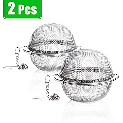 Xloey 2 Pack Tea Strainer-Stainless Steel Mesh Tea Ball Infuser,Premium Tea Filter Tea Interval Diffuser with Extended Chain Hook for Loose Leaf Tea and Spices & Seasonings (2 Pack Tea Strainer)