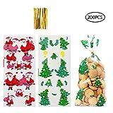 Süßigkeiten tüten,200 Stück Cellophantüten Klein Tütchen Flachbeutel Transparent Zellglasbeutel mit 200 Pcs Twist Ties Süßigkeitentüten Weihnachten für Bonbon Plätzchen Kekse...