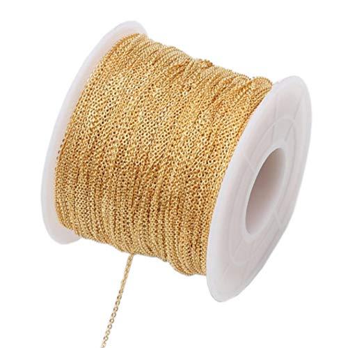 Cadena de Preservación Del Color Cubierta De Oro de 14 Quilates, Collar de Cadena de Palabras Que no se Desvanece DIY Accesorios de Pulsera Hechos A Mano Material de Cadena 100 Metros