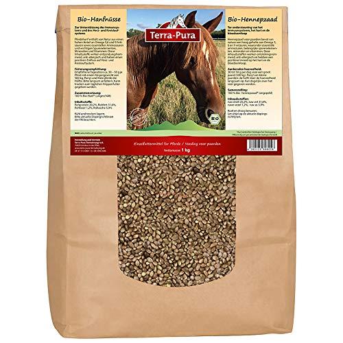 TERRA-PURA Tiernahrung Pferdehanf | Bio-Hanfsamen | Pferdeleckerli | Hemp | 1 kg