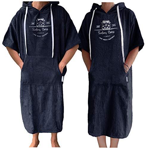 HOMELEVEL Damen und Herren Frottee Surfponcho mit Kapuze und Stickerei 100% Baumwolle Strandponcho Poncho Badeponcho (L-XL, Navyblau)