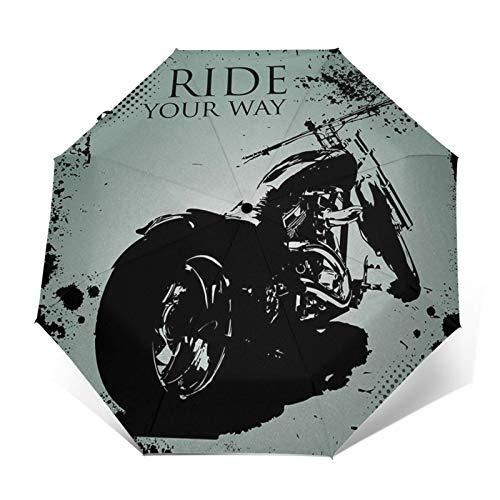 Regenschirm Taschenschirm Kompakter Falt-Regenschirm, Winddichter, Auf-Zu-Automatik, Verstärktes Dach, Ergonomischer Griff, Schirm-Tasche, Motorrad Dots Chopper
