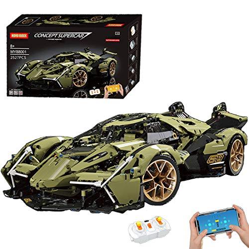 Lommer Technics - Kit de construcción de coche deportivo para Lamborghini V12 Vision GT, 2527 piezas 1:8 control remoto de carreras de coches, bloques de construcción compatibles con Lego