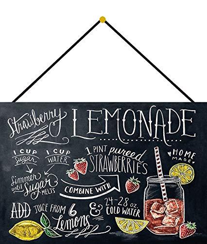 Metalen bord 20x30cm gebogen met koord Strawberry Lemonade Aardbei Limonade Deco Gift Shield