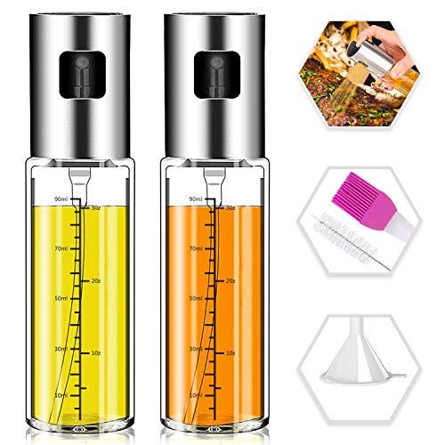 Olive Oil Sprayer,Norbase 2pack Oil Dispenser Mister for Cook Refillable Oil Vinegar Dispenser Glass Bottle with Measurements for BBQ Baking Roasting Frying Oil Control Diet 100ml with Brush Funnel