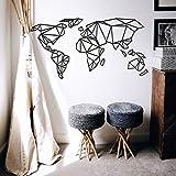 K&L Wall Art 3D Weltkarte Origami Worldmal Holz Acryl MDF Deko Wanddeko (150cm x 78cm, MDF schwarz)