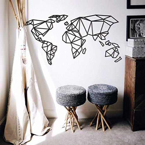 K&L Wall Art 3D Weltkarte Origami Worldmal Holz Acryl MDF Deko Wanddeko (100 x 150cm, MDF schwarz)