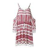 VEMOW Vestido de Mujer Tops Camisas con Hombros Descubiertos Borla Corto Cóctel de Playa Tirantes Falda(Rojo,XL)