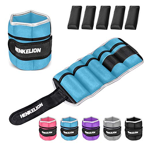 Henkelion 1 Pair 10Lbs Adjustable Ankle Weights for Women Men Kids, Wrist Weights Ankle Weights Sets for Gym, Fitness Workout, Running, Lifting Exercise Leg Weights - Each 5 Lbs Blue