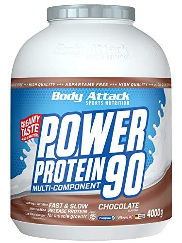 Body Attack Power Protein 90, Chocolate, 4 kg, 5K Eiweißpulver mit Whey-Protein, L-Carnitin und BCAA für Muskelaufbau und Fitness