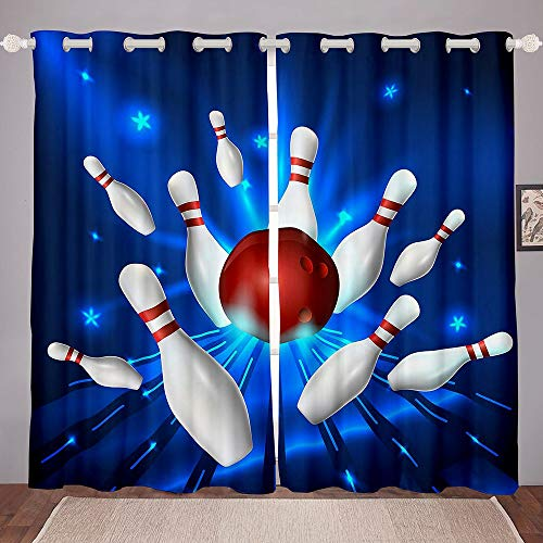 Homewish Bowling Window Curtains White Bottle and Red Ball Print Window Drapes for Living Room Sports Theme Window Treatment Plastic Grommet Microfiber Fabric 2 Panel Set Curtains, 76Wx54L inch