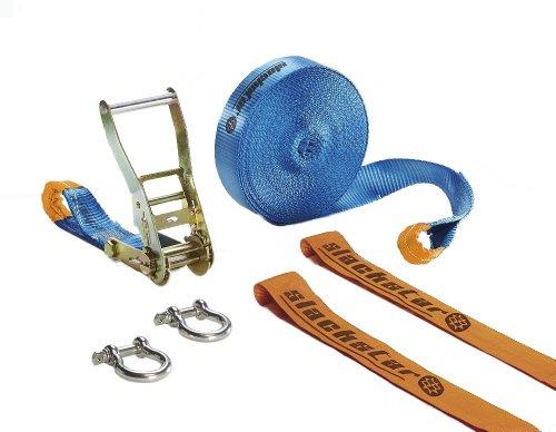 Slackstar SL82668-15 Slackline Set Basic 6teilig für Kids & Anfänger, blau, 15 m Länge, 50 mm Bandbreite, 2 Rundschlingen und 2Schäkel