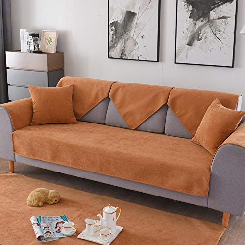 Velvet Sofa Protector Cover,waterproof sofa cushion covers, urine proof pet couch slipcover, universal wear-resistant Sofa shield-coffee_110*180cm