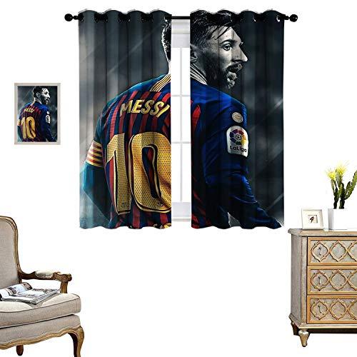DRAGON VINES Living Room Grommet Insulation Curtain Blackout Window Curtain Messi Fond ecran Shie1ded UV Set of 2 Panels W72 x L62