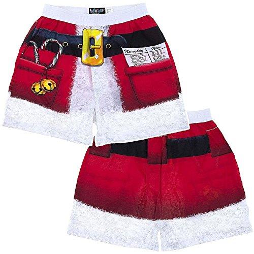 Fun Boxers Mens Fun Prints Boxer Shorts, Xmas Santa, Large