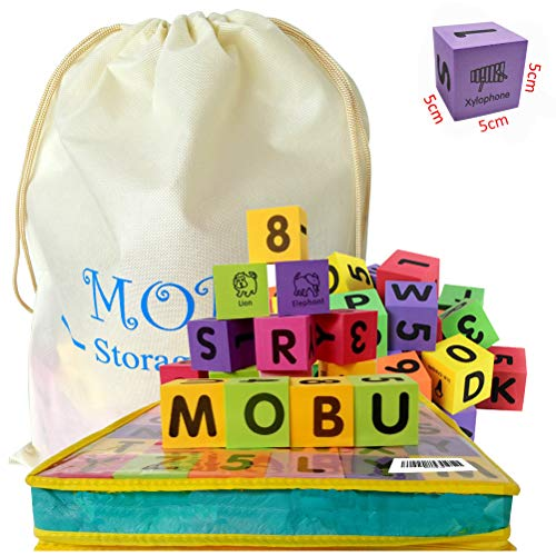 MOBU 30 Pcs Foam Building Blocks for Toddlers 13 Alphabet Blocks ABC Numbers 09 Stacking Blocks for Kids Babies Toddlers Playing Indoor Outdoor Bathroom Bathtub or Beach Reusable Storage Bag