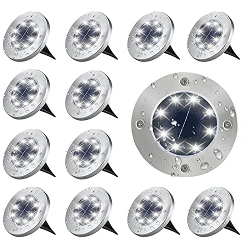 OZS-Solar Ground Lights Outdoor,12PK 8LED Solar Disk Lights Outdoor Waterproof Landscape Lights for Patio Pathway Lawn Garden Yard Driveway Walkway (Cool White)