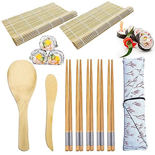 10 Pezzi di Strumenti per la Preparazione Del Sushi, Set di Tappetini per Sushi in Bambù, Sushi Mat, Famiglia Gadget Sushi fai-da-te Fatti in Casa per Feste in Ufficio