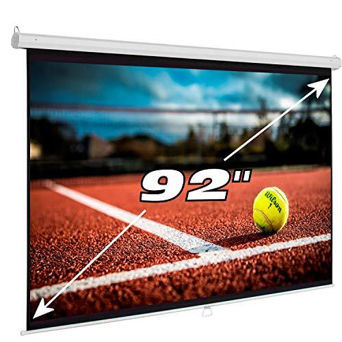 """Pantalla de proyeccion Manual Luxscreen 92"""" Pulgadas, Formato panorámico, área Visible Blanca 202 x 114cm , cajetín de 2,16 Metros"""