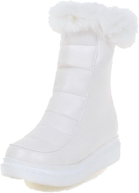 WeiPoot Women's Zipper Low Heels PU Solid Low-top Boots