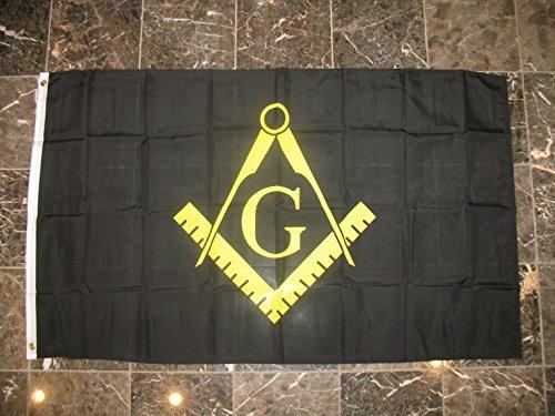 3x5 Black and Yellow Mason Masonic Freemason Flag 3'x5' house banner Brass Grommets