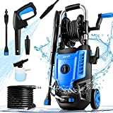 Suyncll Electric Pressure Washer 3500PSI Max 2.8 GPM Power Washer 1800W High Pressure Washer Cleaner with 20 Ft Hose & 35 Ft Wire, All-in-one Nozzle (with Hose Reel, Blue & Black)