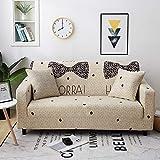 Funda Sofa Elastica 3 Plazas Protector para Sofás Antideslizante Funda Longue Chaise Cubre Sofa de Poliéster Decorativas Cubierta para sofá Ajustables con 1 Funda de Cojín - Lazo Beige