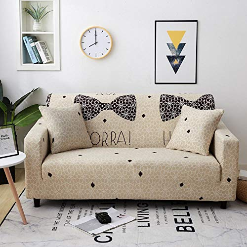 Stretch Couch Cover for 4 Seater (Free 1 pillow cases) Jacquard Sofa Cover for Living Room 1-Piece Universal Slipcover Spandex Furniture Covers for Sofa Protector Washable 235-300cm - Beige bow