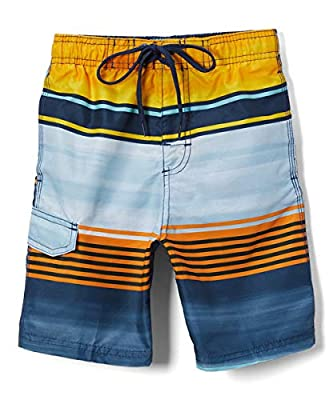 Kanu Surf Boys' Big Quick Dry UPF 50+ Beach Swim Trunk, Avalon Navy/Orange, 14/16