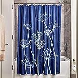 iDesign Thistle Duschvorhang | 183,0 cm x 183,0 cm großer Badewannenvorhang | waschbarer Duschvorhang aus weichem Stoff | mit Blumen-Motiv | Polyester marineblau/schiefer