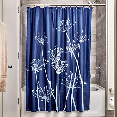 Price comparison product image iDesign Thistle Shower Curtain,  High Bathtub Curtain,  Made of Polyester,  Navy / Slate Blue