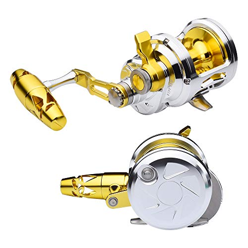 PROBEROS Fishing Conventional Jigging Reel Saltwater - Heavy Duty Deep Ocean Big Offshore Round Aluminum Trolling Reels 1PC Gold Silver Right-Hand