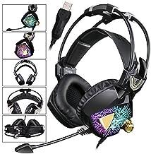 SADES más nuevo modelo SA 913 Ligera PC Gaming Headset Stereo USB auriculares de sonido envolvente sobre la oreja con micrófono vibración Volume Controller multi-color de luz LED para jugadores (Negro)