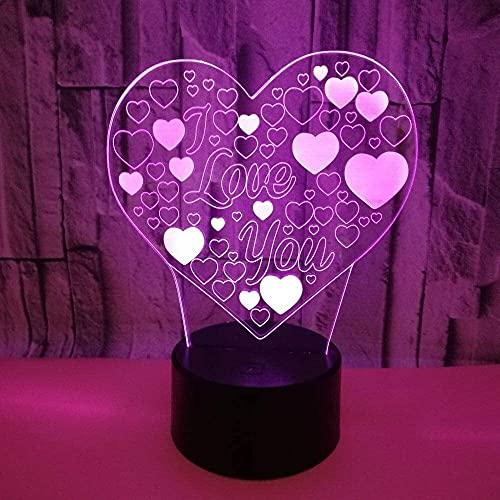 nakw88 Amor LED luz de Color Degradado 3D estéreo táctil Remoto USB luz de Noche mesita de Noche Decorada con imaginación Regalo de Cumplea?os 20 * 13 cm Lámpara de Mesa