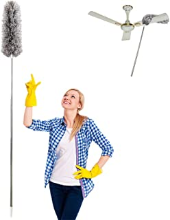 Microfiber Duster for Cleaning with Extension PoleReaches 100 Inches,LECAMEBOR Flexible and Extendable Duster for Cleaning Ceiling Fan/Furniture/Keyboard/Cobweb-Upgraded