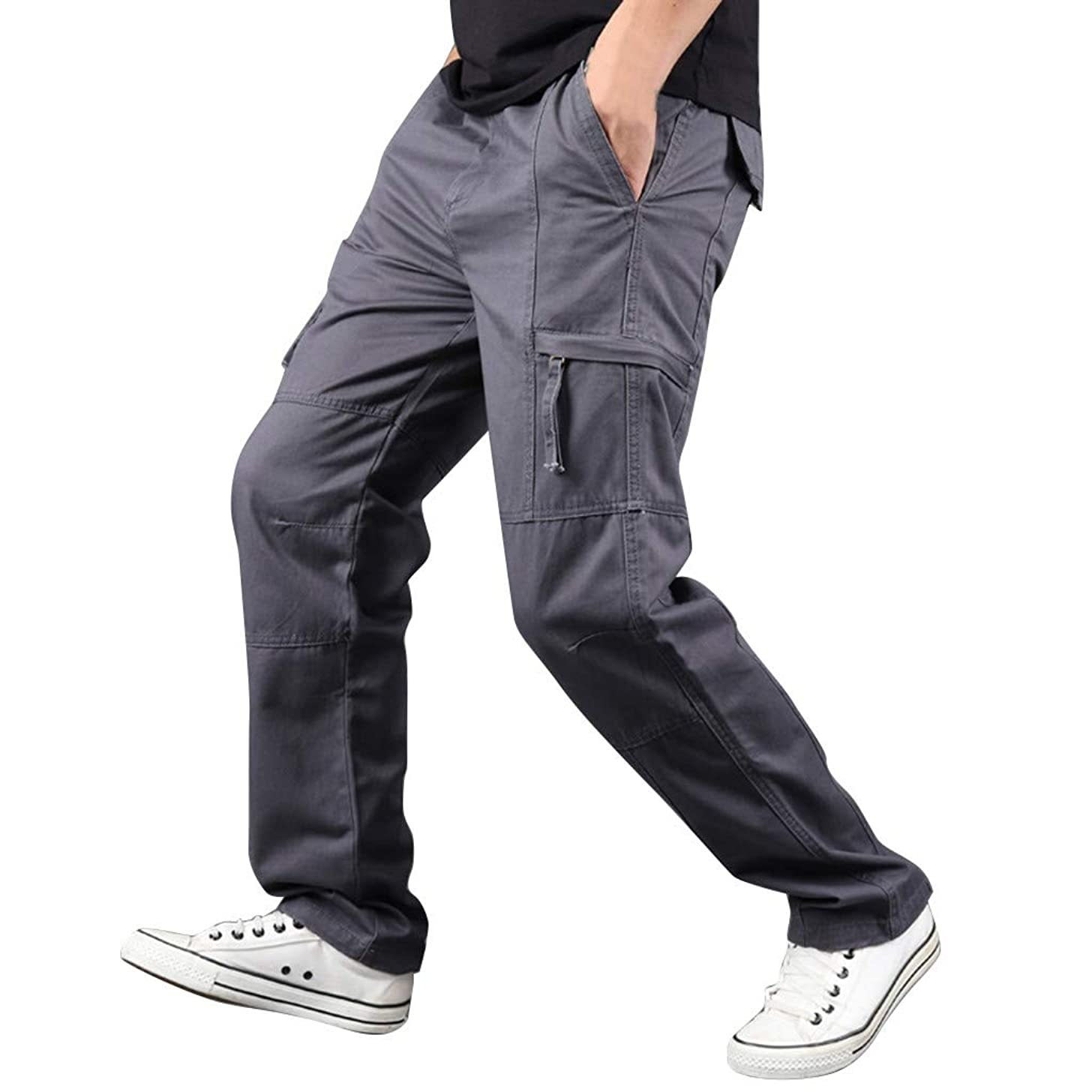 LUCAMORE Men's Casual Solid Outdoor Pants Straight Leg Sports Multi-Pockets Cargo Pants