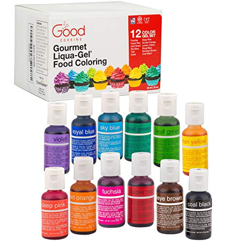 Food Coloring Liqua-Gel 12 PK (9 oz, 264 mL) - 12 Bold Primary Color...