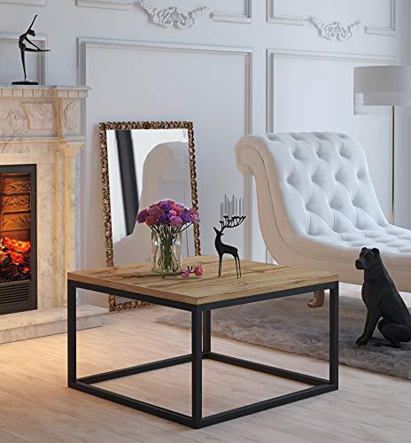 LUK Furniture Yoshi Couchtisch Eiche Tisch Wohnzimmertisch moderner Kaffetisch Sofatisch Wohnzimmer Metallrahmen (Schwarz/Wotan Eiche)