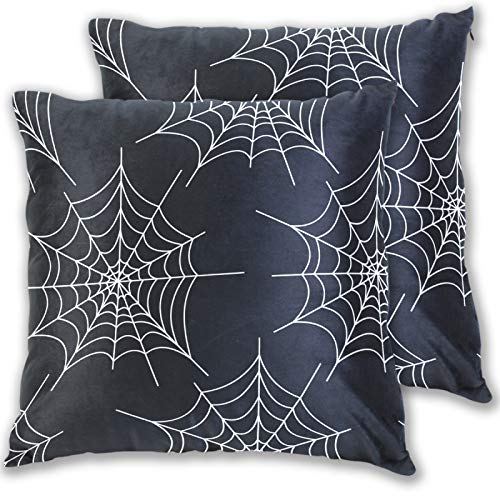 Pillowcase Halloween Spider 2 Pack Cushion Covers Home Decorative,20x 20 Inches Two Sides Pillow Cover for Home Sofa Car Bed Room Decor 2100018