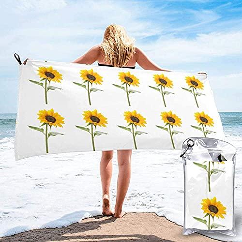 Toalla de Secado rápido de Microfibra con Estampado de repollo Brillante, Toallas de baño Ultra Suaves, con mosquetón, Esencial para Acampar, Playa, hogar-Bloom Sunflower-27.5 'x55