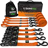 RHINO USA Ratchet Straps Heavy Duty Tie Down Set, 5,208 Break Strength - (4) Heavy Duty 1.6' x 8' Cargo Tiedowns with Padded Handles & Coated Chromoly S Hooks + (4) Soft Loop Tie Downs Strap (ORANGE)