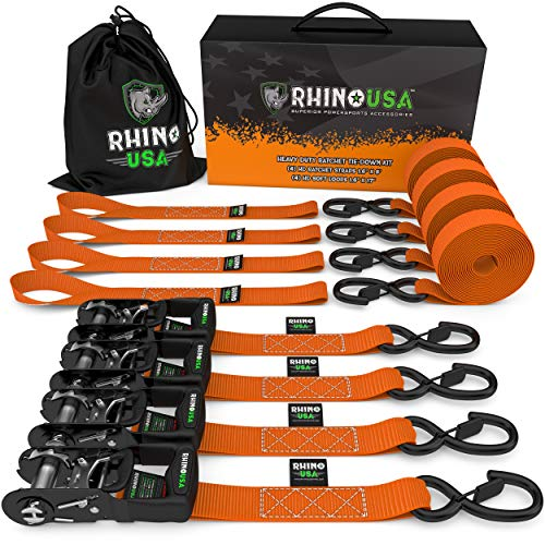 RHINO USA Ratchet Straps Heavy Duty Tie Down Set