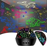 Night Light for Kids, Dinosaurs Cars Toys for Kids Projector Lamp for Bedroom,16 Colorful Rotating Ceiling Dinosaurs Cars for Kids Room Party(Black-Dinosaur&car)