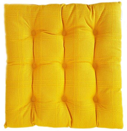 Scanart Linum Dobby hochwertiges Stuhlkissen Sitzkissen gesteppt ca. 40x40x3cm (gelb)
