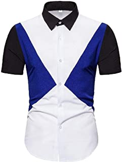 Abeaicoc Men Down Button Stylish Sleeve Short Color Block Casual Dress Work Shirt