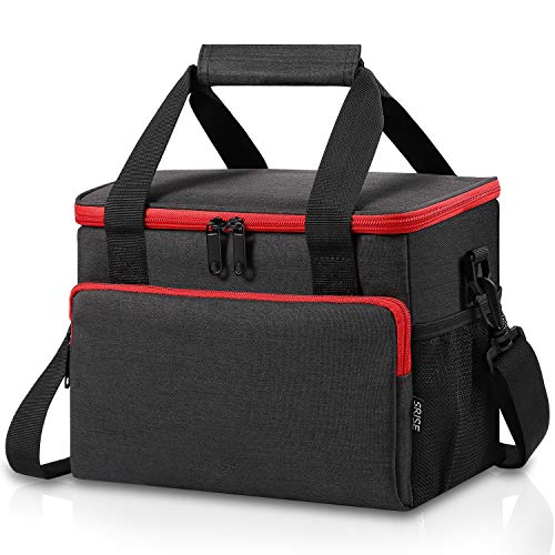 Adult Lunch Box Insulated Lunch Bag for Men & Women, Large Lunch Cooler Tote with Adjustable Shoulder Strap, Side Pockets and Water Bottle Holder, Reusable Leak Proof Lunch Bags (Black)